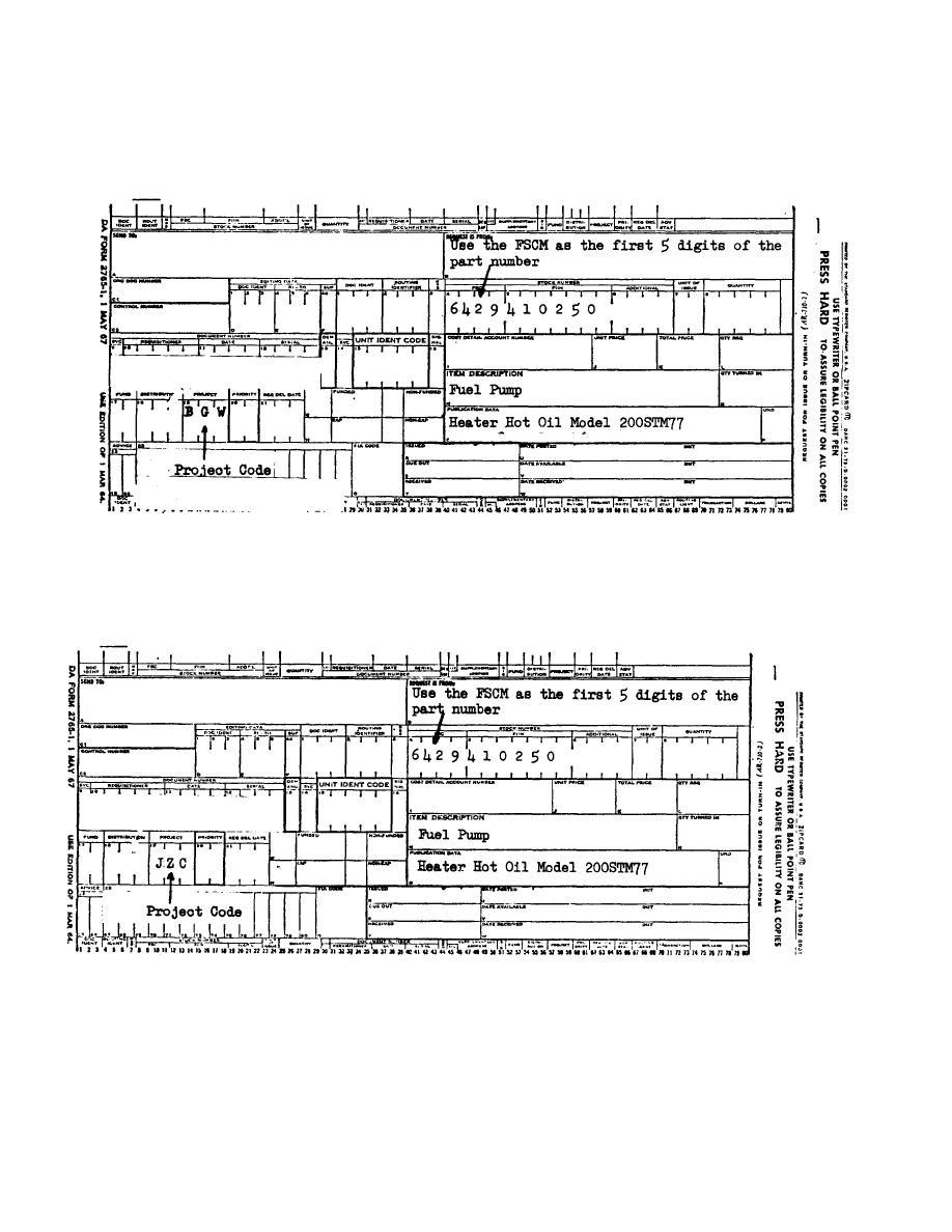 APPENDIX G SAMPLE FORMAT - DA FORM 2765 PART NUMBER REQUEST